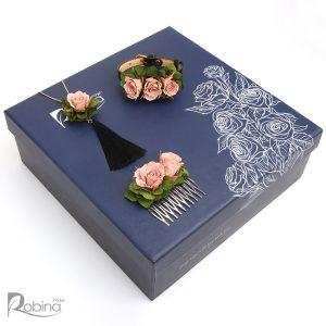 سرویس آزالیا کلاس رویال با گل رز مینیاتوری صورتی و هورتانسیا سبز