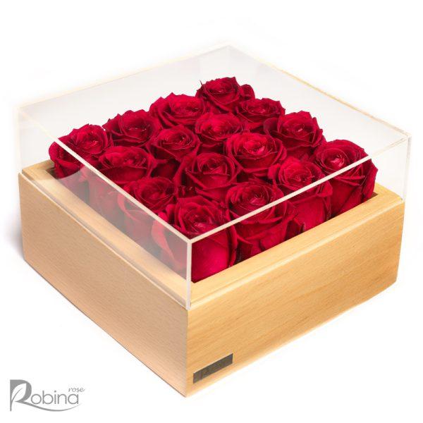 باکس 16 گل روبینا رز با گل های رز هلندی جاودان سرخابی