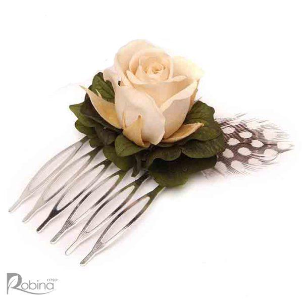 شانه گل کوچک مدل رویال تزئین شده با گل رز مینیاتوری کرم و هورتانسیا سبز