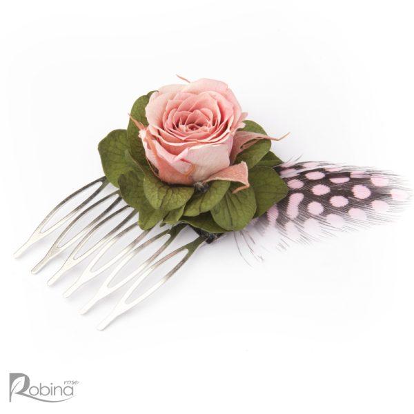 شانه گل کوچک رویال با گل رز مینیاتوری صورتی و برگ سبز