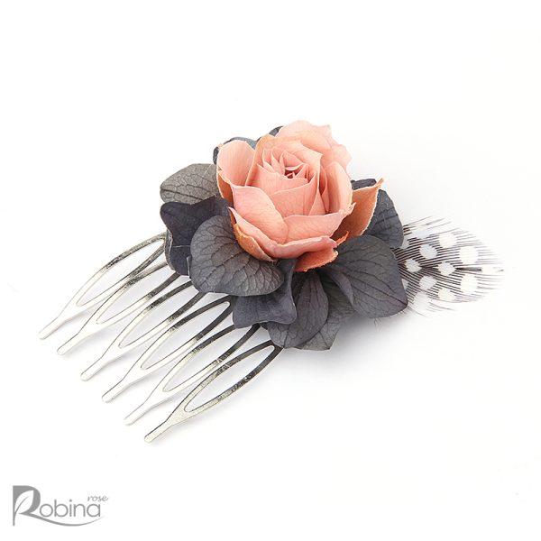 شانه گل کوچک رویال با گل رز مینیاتوری صورتی و هورتانسیا طوسی