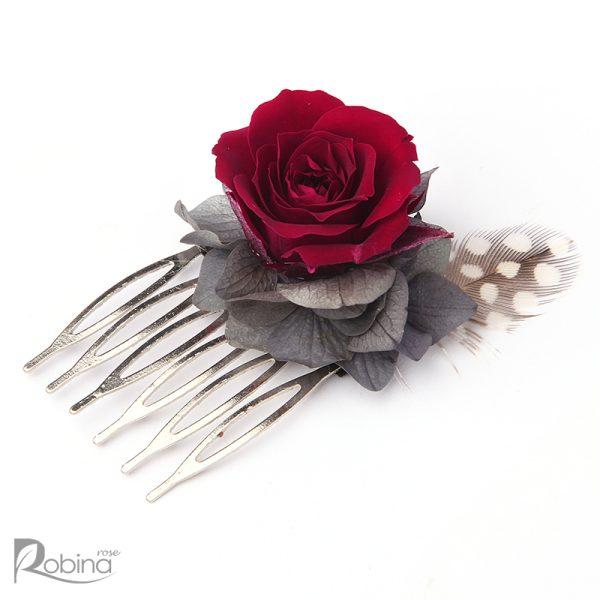 شانه گل کوچک مدل رویال با گل رز مینیاتوری سرخابی و برگ طوسی