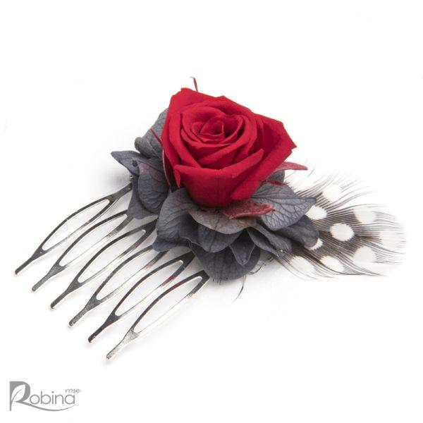 شانه گل کوچک رویال با گل رز مینیاتوری قرمز و هورتانسیا طوسی
