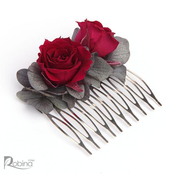شانه گل رویال سایز متوسط با گل های رز مینیاتوری سرخابی و برگ طوسی