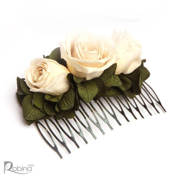 شانه گل رز جاودان مدل رویال با گل رز مینیاتوری کرم و برگ سبز