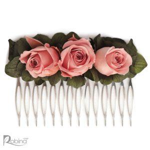 شانه گل بزرگ رویال با گل های رز مینیاتوری جاودان صورتی و هورتانسیا سبز