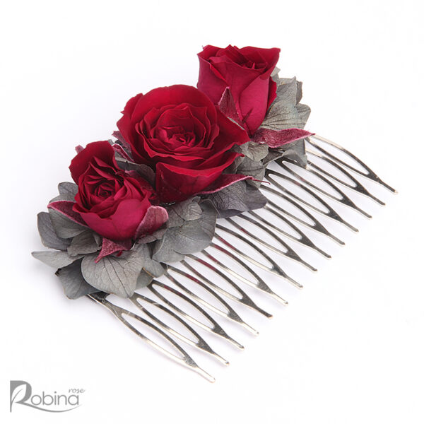 شانه گل رز ماندگار مدل رویال سایز بزرگ تزئین شده با گل رز سرخابی و هورتانسیا طوسی