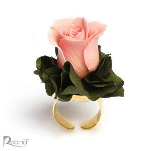 انگشتر گل رز ماندگار صورتی و سبز کلاس رویال
