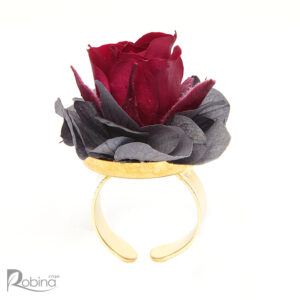 انگشتر گل رز جاودان کلاس رویال با ترکیب رنگ سرخابی و طوسی