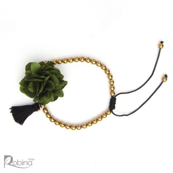 دستبند رشته ای آناهیتا با سنگ حدید طلایی و هورتانسیا سبز