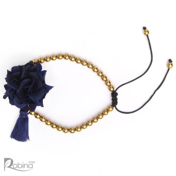 دستبند رشته ای آناهیتا با سنگ حدید طلایی و هورتانسیا سرمه ای