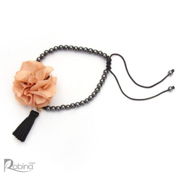 دستبند رشته ای آناهیتا با سنگ حدید دودی و هورتانسیا گلبهی