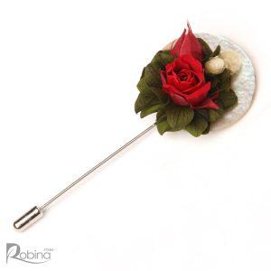 گل یقه پایه صدف مدل دیانا با گل قرمز و هورتانسیا سیز