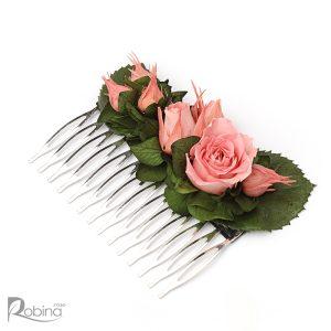 شانه گل ماندگار کلاس گلوریا با برگ سبز و گل رز صورتی