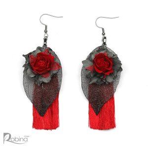 گوشواره گل رز جاودان مدل هانا و رنگ قرمز