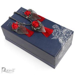 نیم ست فریزیا کلاس آناهیتا با گل رز مینیاتوری قرمز