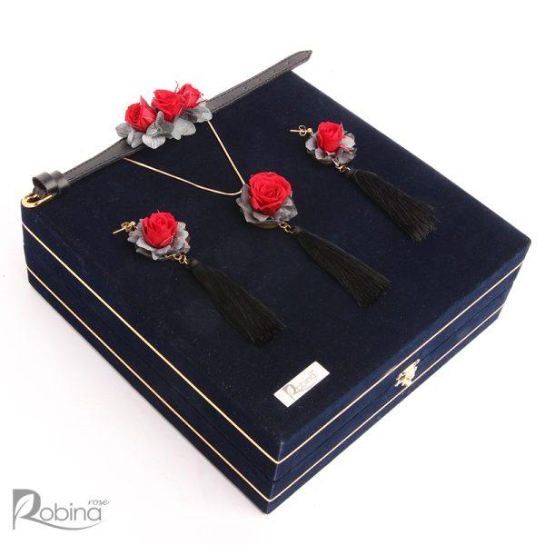 سرویس کاملیا کلاس رویال با گل های رز مینیاتوری جاودان رنگبندی قرمز و طوسی