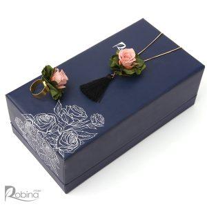 نیم ست ویولا گل رز جاودان کلاس رویال کار شده با گل رز صورتی و هورتانسیا سبز