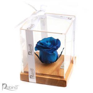 گل رز جاودان آبی مدل رزیتا پایه چوبی