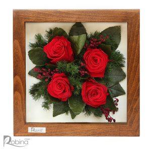 قاب گل رز جاودان ساخته شده از چوب راش با چهار گل قرمز
