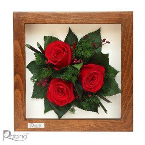 قاب گل رز جاودان رنگ قرمز