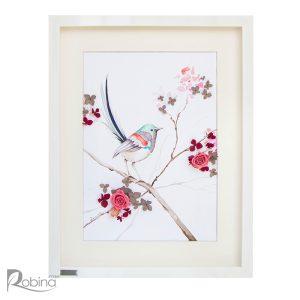 کلاژ آبرنگ طرح تک پرنده نشسته بر شاخه با گل صورتی