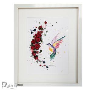 کلاژ پرنده طرح مرغ مگس خوار چند رنگ با گل های رز مینیاتوری جاودان