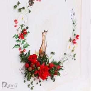 تصویری از نمای کنار تابلو کلاژ آبرنگ طرح روباه با تزئین گل رز جاودان
