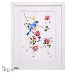 تابلو کلاژ آبرنگ طرح پرنده آبی با گل های رز جاودان صورتی